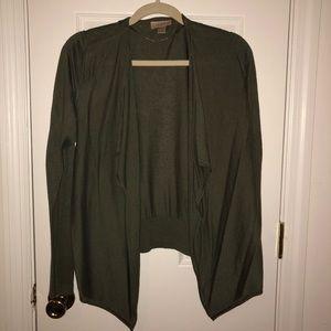 Hunter green wrap sweater